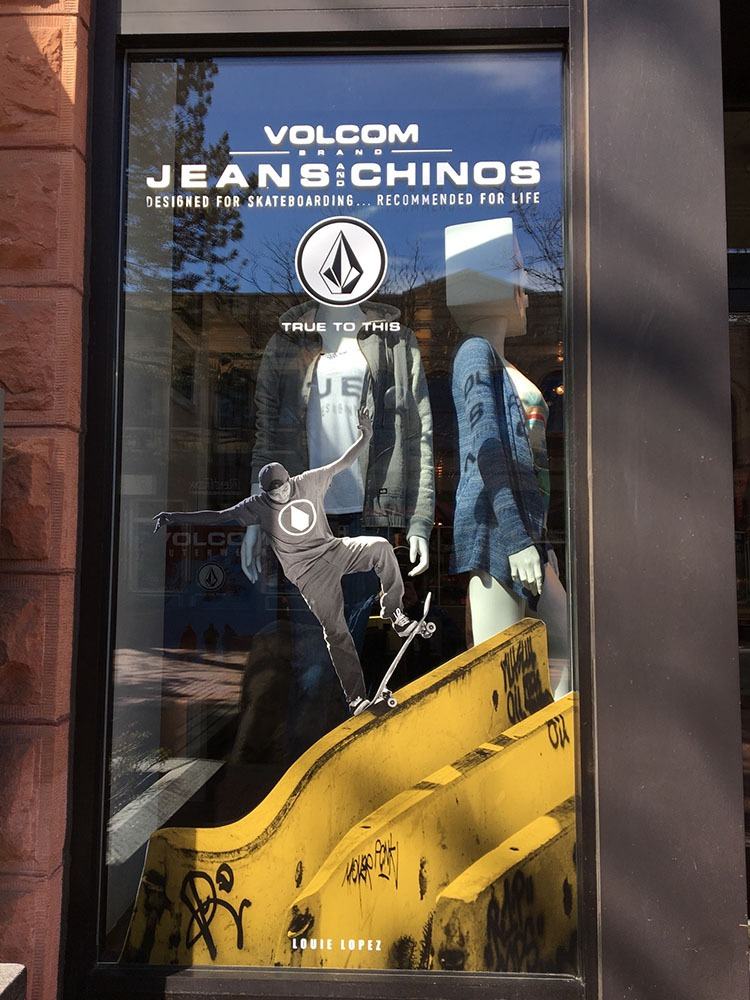 Volcom Jeans window graphics.