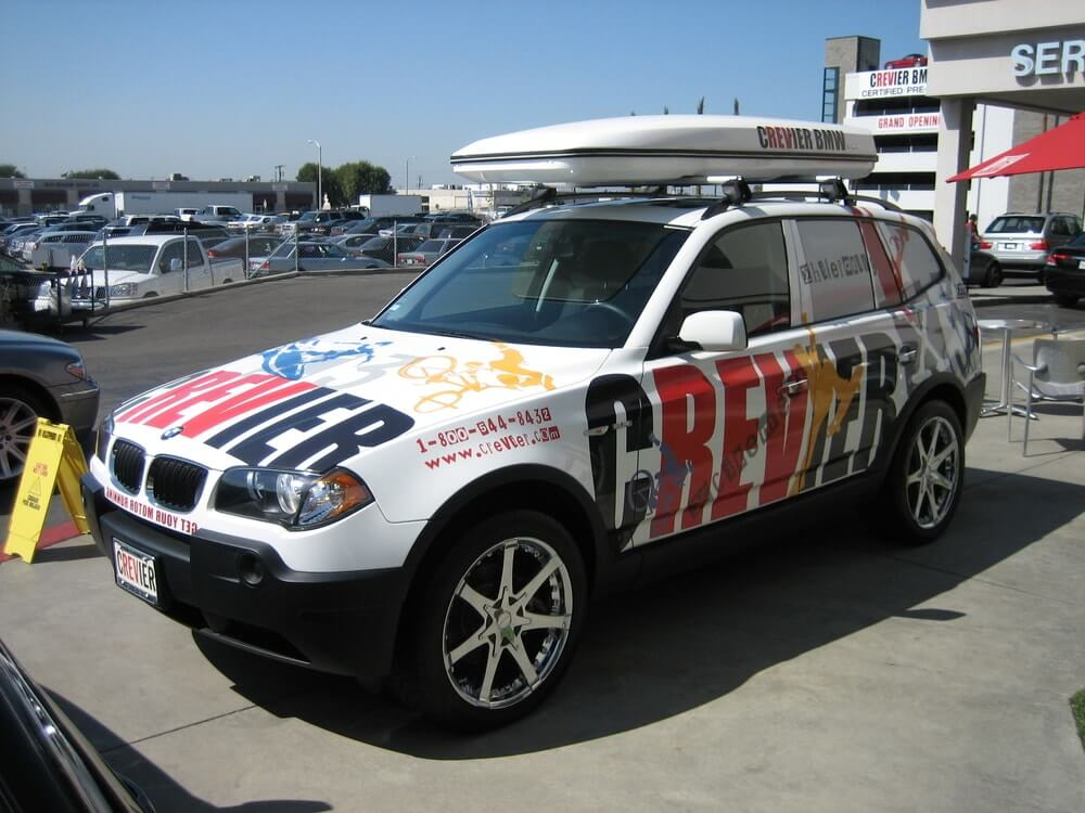 BMW white jeep vehicle wrap