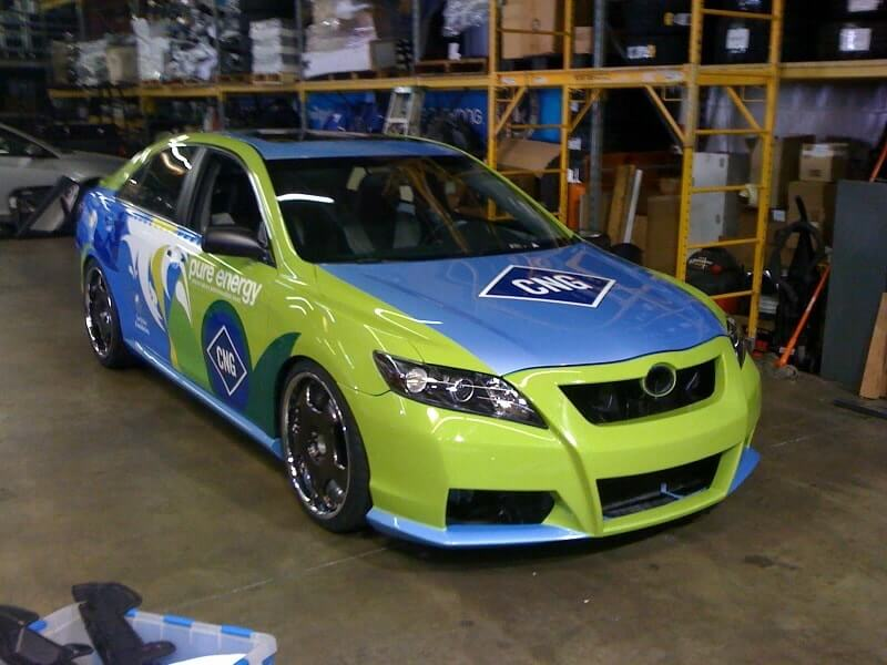 CNG green and blue color with a logo. Vehicle wrap done by Venbea imaging in Santa Ana, CA.