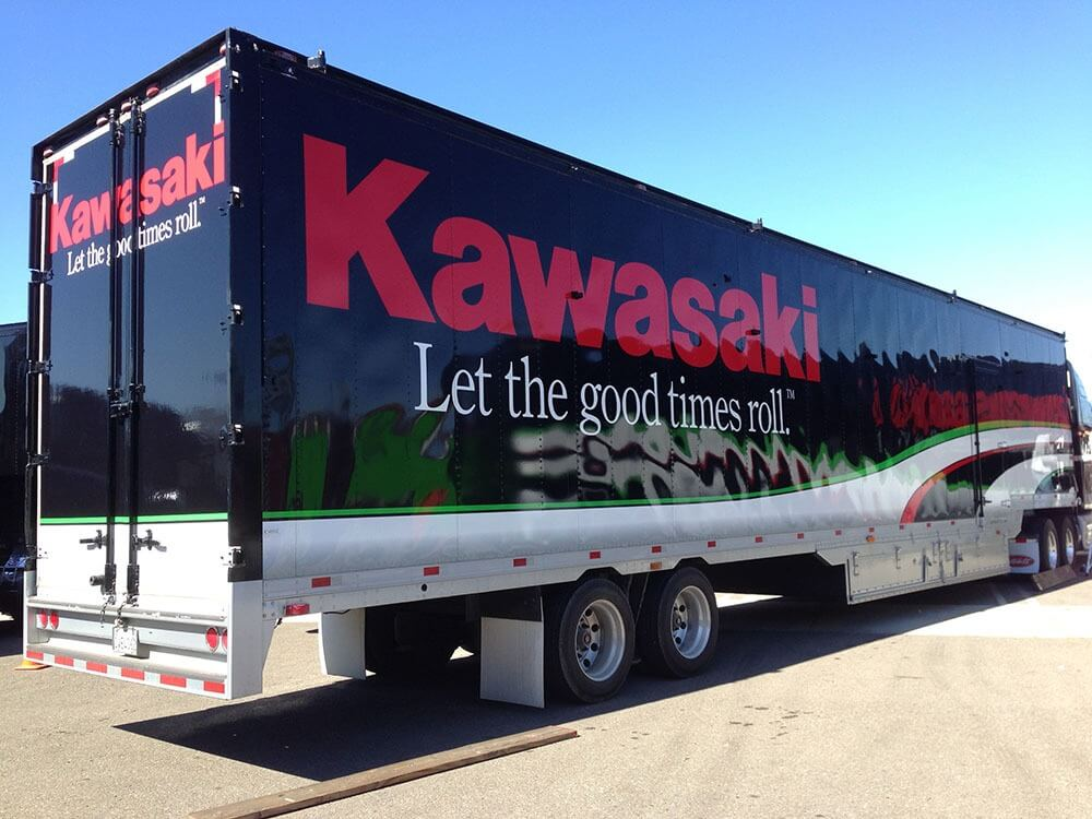 Kawasaki black and red vehicle wrap